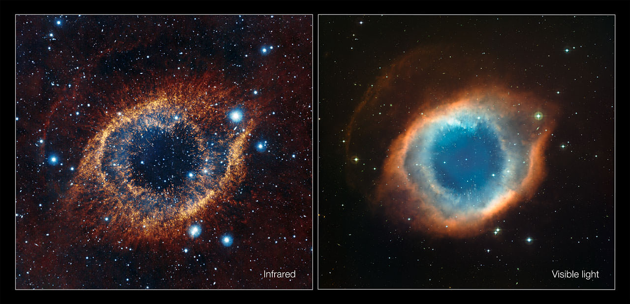 This comparison shows a new view of the Helix Nebula acquired with the VISTA telescope in infrared light (left) and the more familiar view in visible light from the MPG/ESO 2.2-metre telescope (right). The infrared vision of VISTA reveals strands of cold nebular gas that are mostly obscured in visible light images of the Helix. Credit:  ESO/VISTA/J. Emerson. Acknowledgment: Cambridge Astronomical Survey Unit
