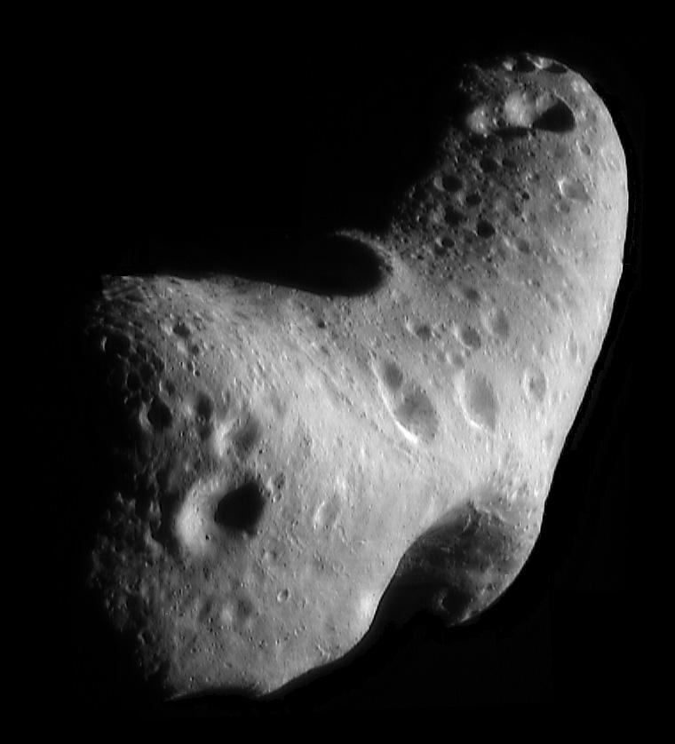 Asteroid 433 Eros, seen by NASA's NEAR spacecraft on Feb. 29, 2000. (NASA/JPL/JHUAPL)