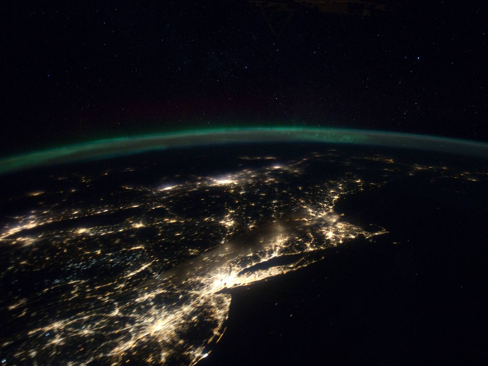 Nighttime Panorama of US East Coast from the ISS.  Astronauts aboard the International Space Station (ISS) captured this stunning nighttime panorama of the major cities along the East Coast of the United States on Jan. 29. Credit: NASA