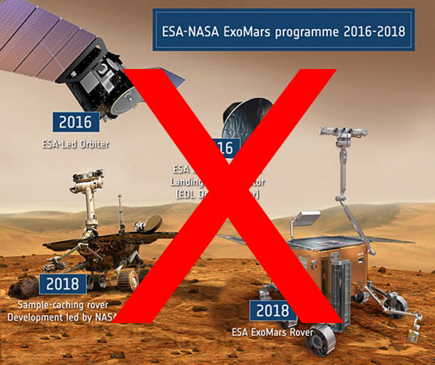 NASA Budget Cuts in Fiscal Year 2013 will force NASA to kill participation in the joint ESA/NASA collaboration to send two Astrobiology related missions to orbit and land rovers on Mars in 2016 and 2018 - designed to search for evidence of Life.  Russia will likely replace the deleted Americans.