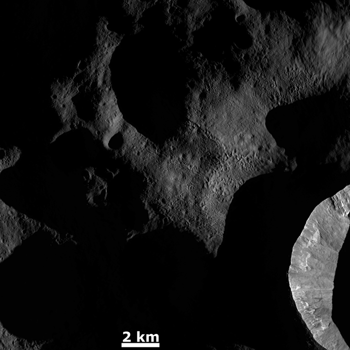 Vesta's surface textures get highlighted by dawn's light