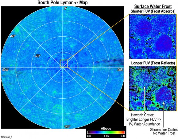 "These images produced by the Lyman Alpha Mapping Project (LAMP) aboard NASA's Lunar Reconnaissance Orbiter reveal features at the Moon's northern and southern poles in the regions that lie in perpetual darkness. They show regions that are consistent with having large surface porosities — indicating ""fluffy"" soils — while the reddening is consistent with the presence of water frost on the surface. Credit: Southwest Research Institute"