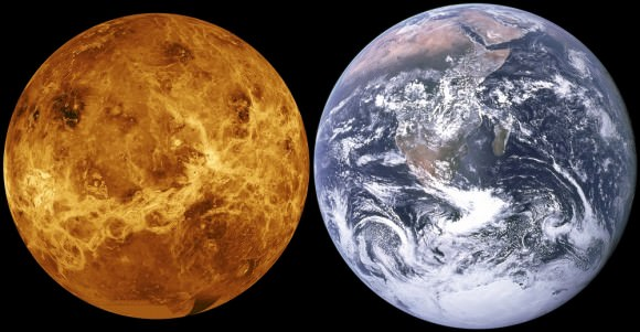 At a closest average distance of 41 million km (25,476,219 mi), Venus is the closest planet to Earth. Credit: NASA/JPL/Magellan