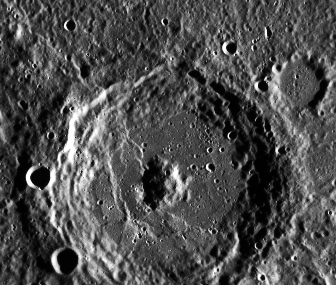 The scarp-filled Donne crater on Mercury