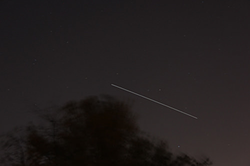ISS crossing the evening sky at about 8:40 PM EDT on April 8, 2012 in New Jersey; 25 sec exposure, about 30 degree elevation, looking south. Credit: Ken Kremer.