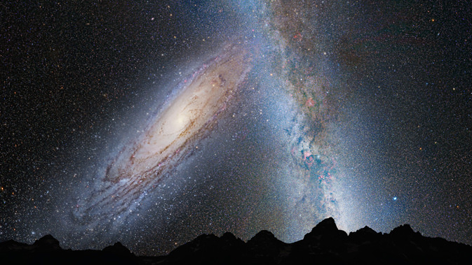 This illustration shows a stage in the predicted merger between our Milky Way galaxy and the neighboring Andromeda galaxy, as it will unfold over the next several billion years. In this image, representing Earth's night sky in 3.75 billion years, Andromeda (left) fills the field of view and begins to distort the Milky Way with tidal pull. (Credit: NASA; ESA; Z. Levay and R. van der Marel, STScI; T. Hallas; and A. Mellinger)
