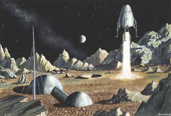 'Moon Landing:'' This is one of Hardy's very earliest paintings, done in 1952 when he was just 15. It was also the first to be published. Credit: David A. Hardy. Used by permission. Click image for access to a larger version and more information on Hardy's website.