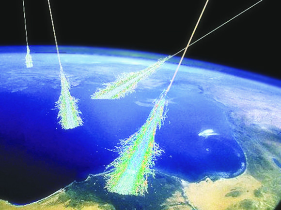 Artist's impression of cosmic rays striking Earth (Simon Swordy/University of Chicago, NASA)