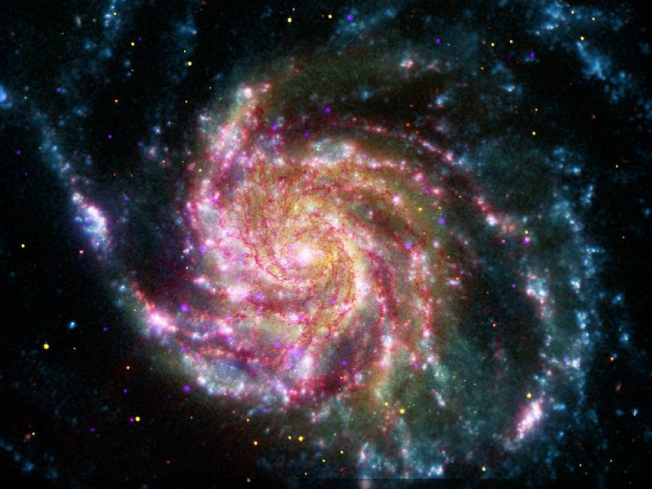 The Pinwheel Galaxy. Credit: X-ray: NASA/CXC/SAO; IR & UV: NASA/JPL-Caltech; Optical: NASA/STScI
