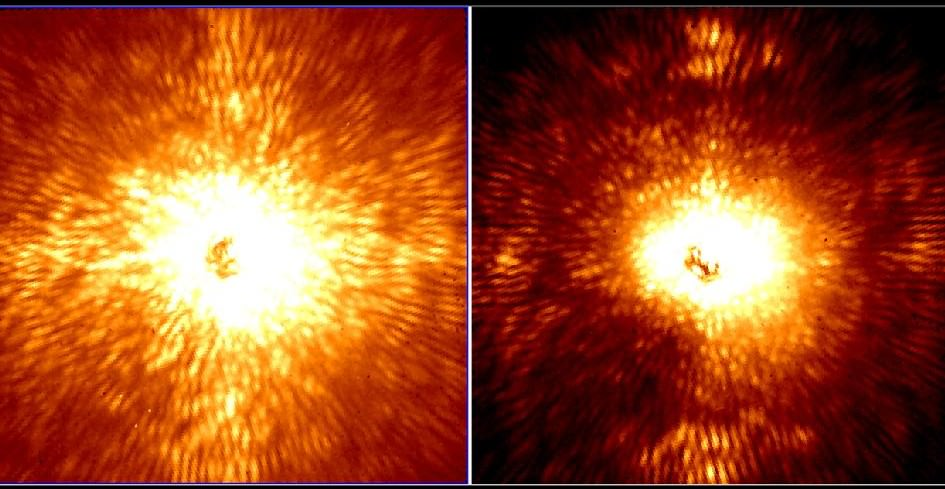 These two images show HD 157728, a nearby star 1.5 times larger than the sun. The star is centered in both images, and its light has been mostly removed by an adaptive optics system and coronagraph belonging to Project 1640, which uses new technology on the Palomar Observatory's 200-inch Hale telescope near San Diego, Calif., to spot planets. Credit: Project 1640