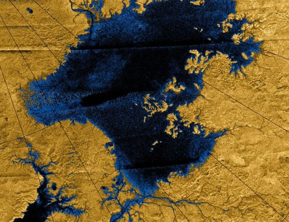 Images from the Cassini mission show river networks draining into lakes in Titans north polar region. Credit: NASA/JPL/USGS.
