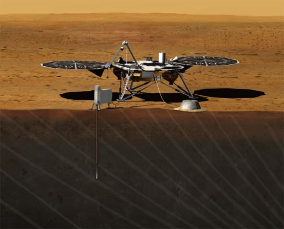 Artist rendition of NASA's Mars InSight (Interior exploration using Seismic Investigations, Geodesy and Heat Transport) Lander. InSight is based on the proven Phoenix Mars spacecraft and lander design with state-of-the-art avionics from the Mars Reconnaissance Orbiter (MRO) and Gravity Recovery and Interior Laboratory (GRAIL) missions. Credit: JPL/NASA