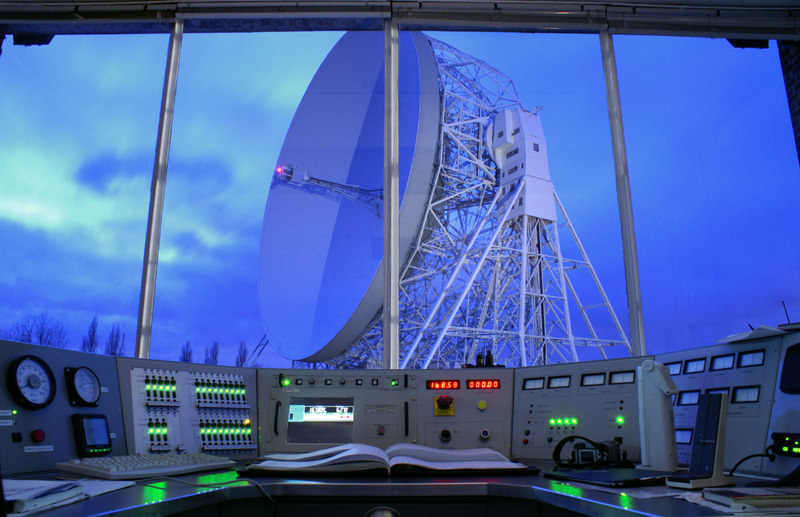 The original Jodrell Bank Control Desk with view of the Lovell telescope. Credit: Anthony Holloway