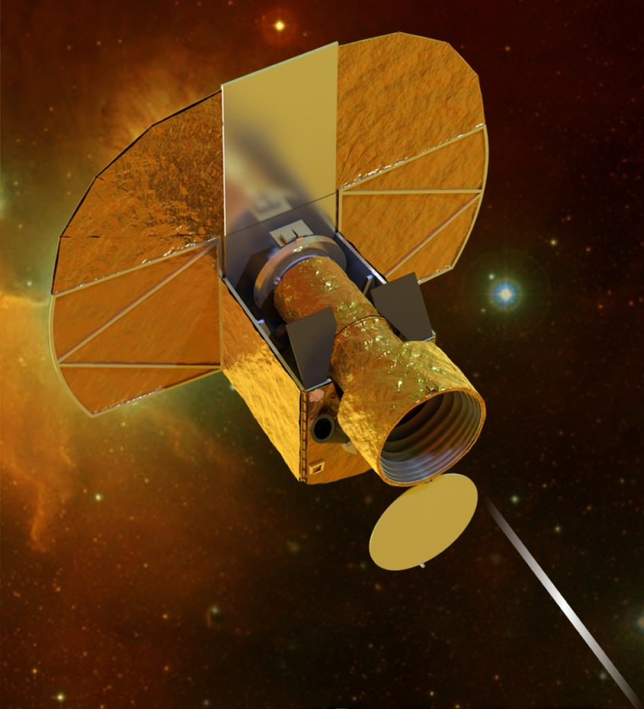 An artist's illustration of the CHEOPS spacecraft. Image Credit: University of Bern.