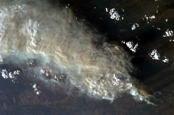 Huge plumes of smoke from bush fires in Australia were visible from the International Space Station. Credit: NASA/Chris Hadfield.