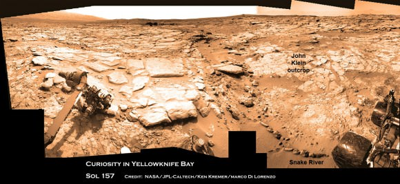 Curiosity & Yellowknife Bay Sol 157_4Ca_Ken Kremer