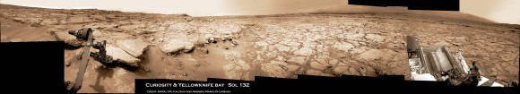 Curiosity touches Yellowknife Bay Sol 132_4c_Ken Kremer