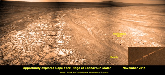 Opportunity discovers hydrated Mineral Vein at Endeavour Crater - November 2011. Opportunity determined that the 'Homestake' mineral vein was composed of calcium sulfate,or gypsum, while exploring around the base of Cape York ridge at the western rim of Endeavour Crater.  The vein discovery indicates the ancient flow of liquid water at this spot on Mars. This panoramic mosaic of images was taken on Sol 2761, November 2011, and illustrates the exact spot of the mineral vein discovery. Featured on NASA Astronomy Picture of the Day (APOD) on 12 Dec 2011 -  http://apod.nasa.gov/apod/ap111212.html. Credit: NASA/JPL/Cornell/Kenneth Kremer/Marco Di Lorenzo.