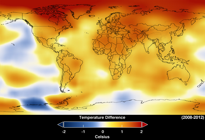 Image is map of the Earth, colored to show temperature difference from 2008-2012. With blue being a drop in temperature, and red being an increase in temperature, the entire map is shades of red and orange, with blue areas in the Pacific, and in Antarctica. The darkest red - showing the most warming - is in the arctic