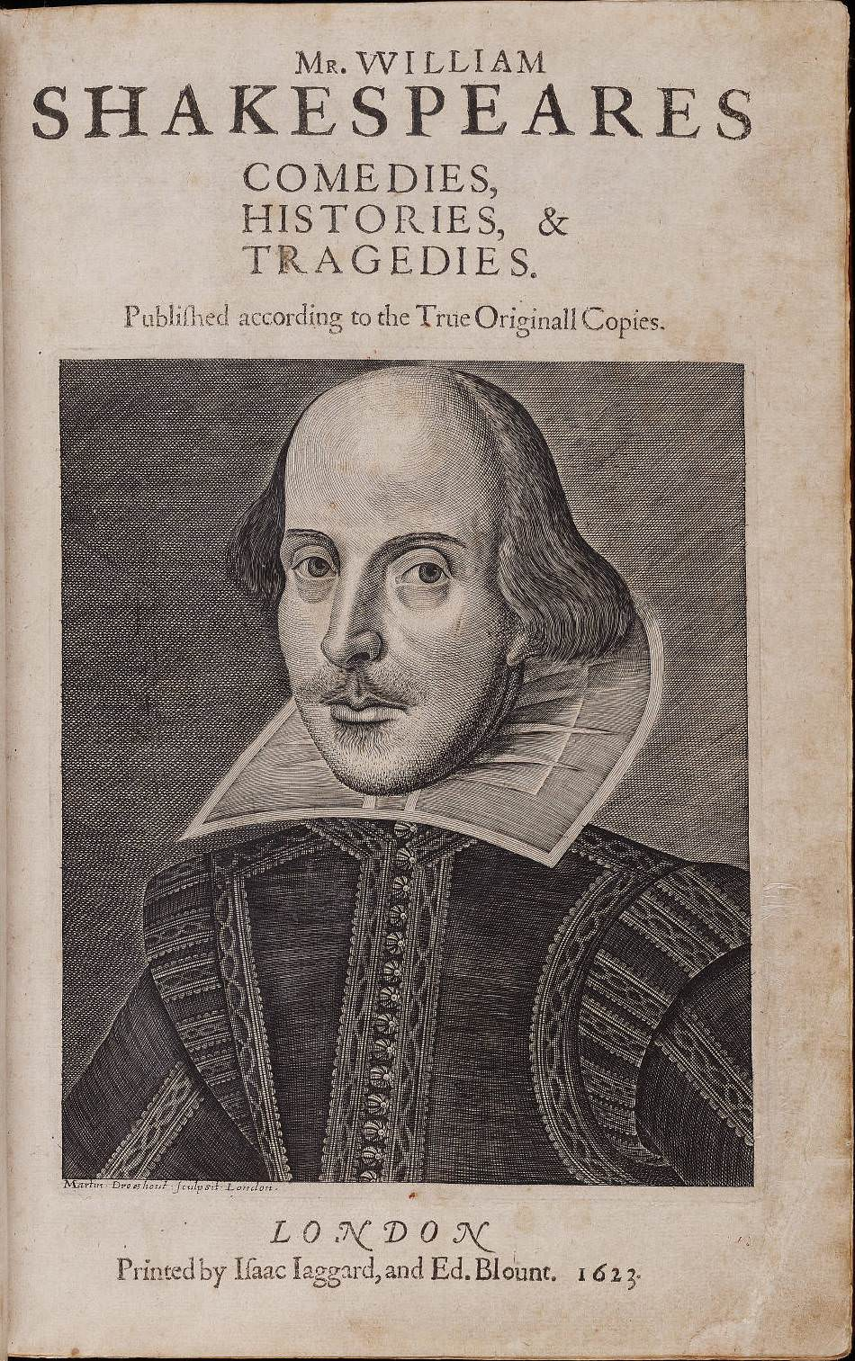 A portrait of William Shakespeare on the cover of the first Folio of his plays. Credit: Elizabethan Club of Yale University