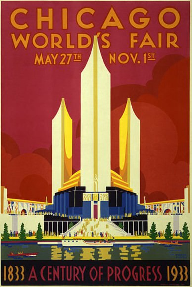 Poster from the Century of Progress Exposition also called the Chicago World's Fair. Its theme was the significance of science and  and improvements brought about by science. The event was celebrated on Chicago's 100th anniversary. Credit: Wikipedia