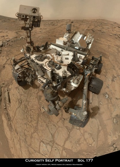 """Curiosity Rover snapped this self portrait mosaic with the MAHLI camera while sitting on flat sedimentary rocks at the """"John Klein"""" outcrop where the robot conducted historic first sample drilling inside the Yellowknife Bay basin, on Feb. 8 (Sol 182) at lower left in front of rover. The photo mosaic was stitched from raw images snapped on Sol 177, or Feb 3, 2013, by the robotic arm camera - accounting for foreground camera distortion. Credit: NASA/JPL-Caltech/MSSS/Marco Di Lorenzo/KenKremer (kenkremer.com)"""