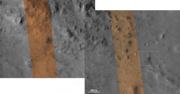 HiRISE images of MSL's impact craters (NASA/JPL/University of Arizona)