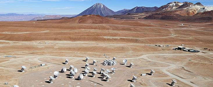 This image shows an aerial view of the Chajnantor Plateau, located at an altitude of 5000 meters in the Chilean Andes, where the array of ALMA antennas is located. Credit: Clem & Adri Bacri-Normier (wingsforscience.com)/ESO.