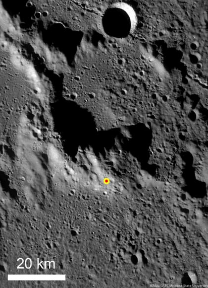 LRO Wide Angle Camera (WAC) image of the GRAIL impact area on the south side of the unnamed massif. Credit: NASA/GSFC/ASU.