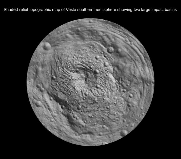 Shaded-relief topographic map of Vesta southern hemisphere showing two large impact basins - Rheasilvia and Older Basin. Credit: NASA/JPL-Caltech/UCLA/MPS/DLR/IDA