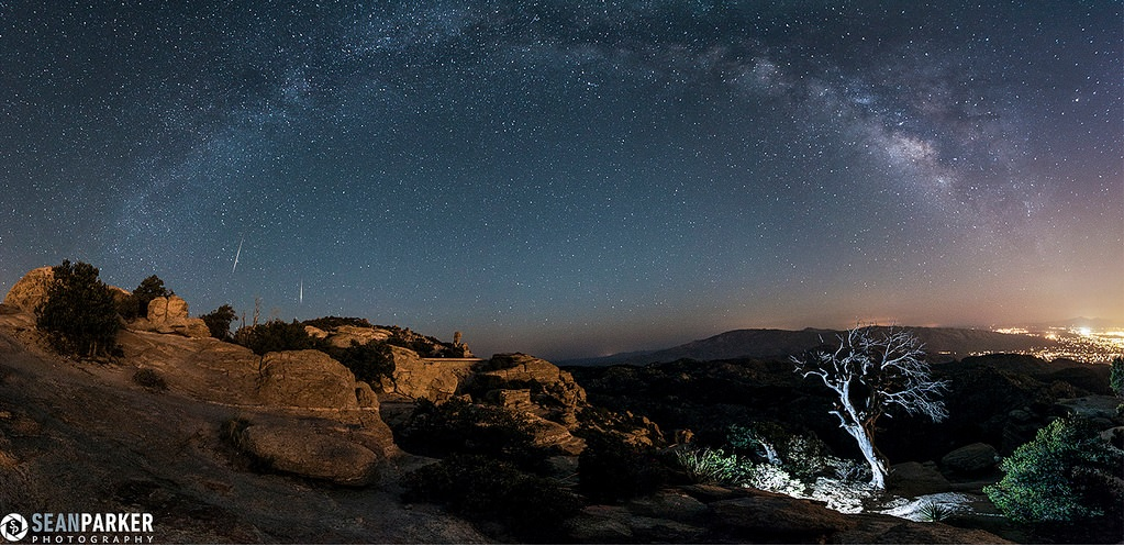 The 2013 Lyrid meteors as seen from Windy Point Vista on Mt. Lemmon, Tucson Arizona. (Credit & copyright Sean Parker Photography. In the Universe Today flickr gallery).