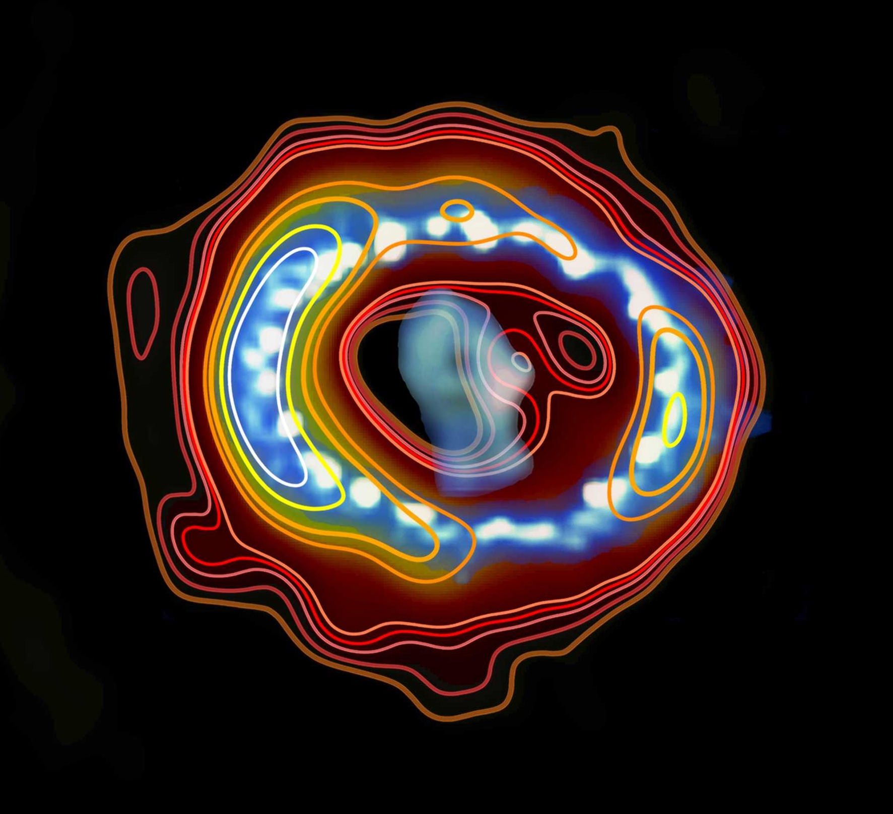 An overlay of radio emission (contours) and a Hubble space telescope image of Supernova 1987A. Credit: ICRAR (radio contours) and Hubble (image.)