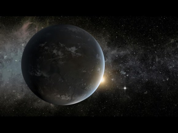 Much like our solar system, Kepler-62 is home to two habitable zone worlds. The small shining object seen to the right of Kepler-62f is Kepler-62e. Orbiting on the inner edge of the habitable zone, Kepler-62e is roughly 60 percent larger than Earth. Image credit: NASA Ames/JPL-Caltech.