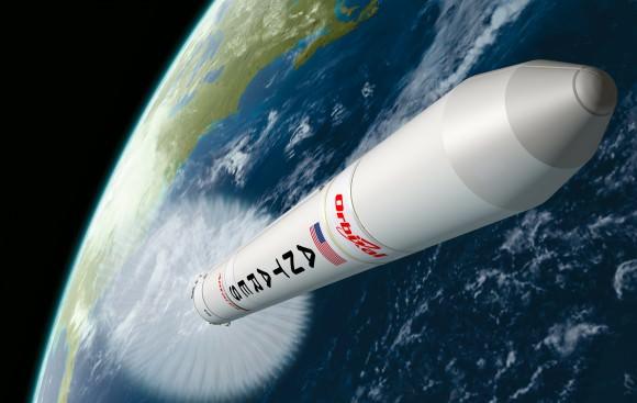 Antares heads to orbit. Artist's concept. (Credit: Orbital Sciences Corperation).
