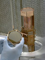 A stack of crystal germanium CDMS detectors (Fermilab)
