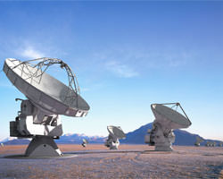 Just a few of ALMA's 66 giant radio telescopes (NRAO)