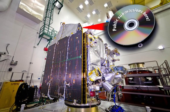The MAVEN missions 'Going to Mars' campaign invites submissions from the public; artwork, messages, and names will be included on a special DVD. The DVD will be adhered to the MAVEN spacecraft and launched into orbit around Mars. (Courtesy Lockheed Martin)