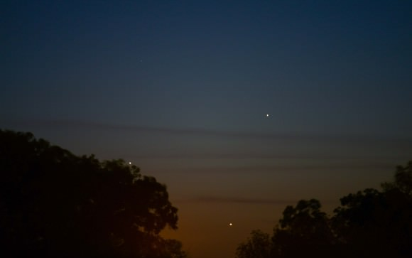 Triple conjunction from  Hondo, Texas taken with a Nikon D800 @ ISO 400 and a 2 second exposure with a Nikon 300mm Lens at F/4.  Credit: Adrian New