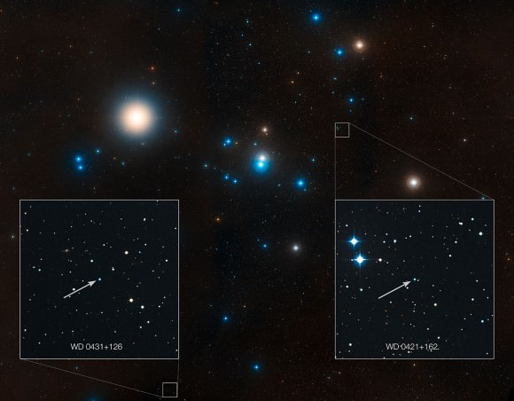 "This image shows the region around the Hyades star cluster, the nearest open cluster to us. The Hyades cluster is very well-studied due to its location, but previous searches for planets have produced only one. A new study led by Jay Farihi of the University of Cambridge, UK, has now found the atmospheres of two burnt-out stars in this cluster — known as white dwarfs — to be ""polluted"" by rocky debris circling the star. Inset, the locations of these white dwarf stars are indicated — stars known as WD 0421+162, and WD 0431+126.  Credit: NASA, ESA, STScI, and Z. Levay (STScI)"