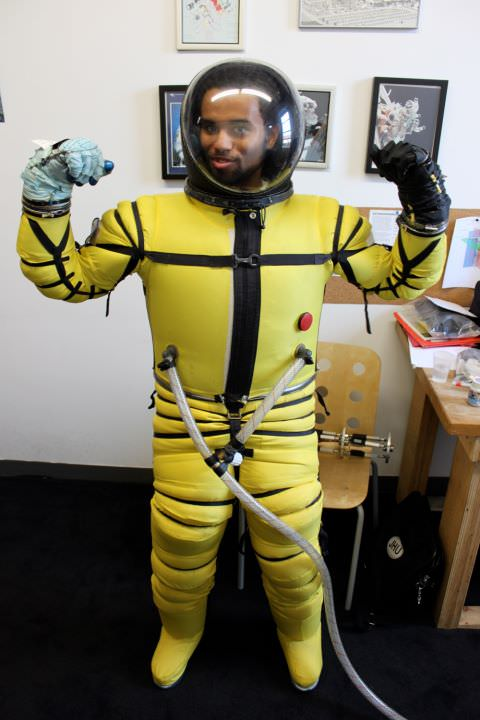 Sol-X CEO Blaze Sanders wearing a Final Frontier Design space suit. Credit: Solar System Express.