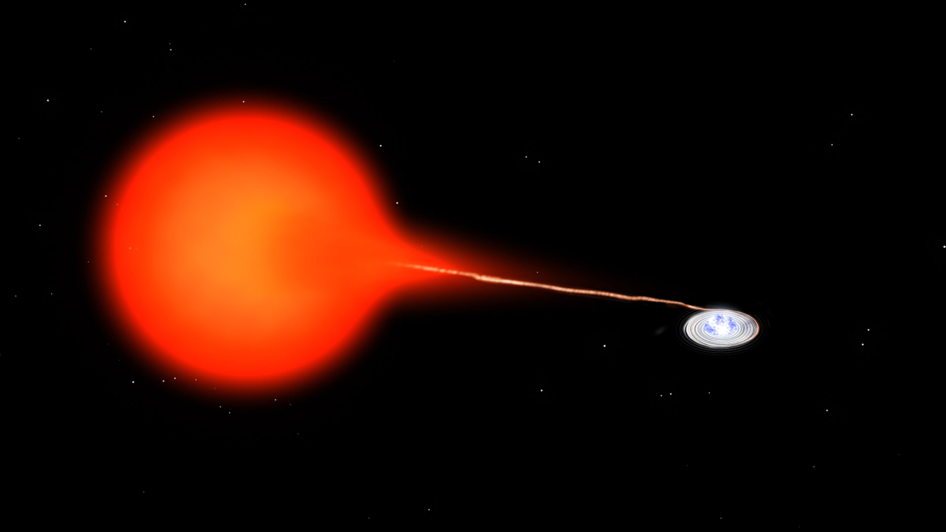 An artist's conception of the SS Cygni system, with a red dwarf star's material being pulled on to a nearby white dwarf. Credit: Bill Saxton, NRAO/AUI/NSF