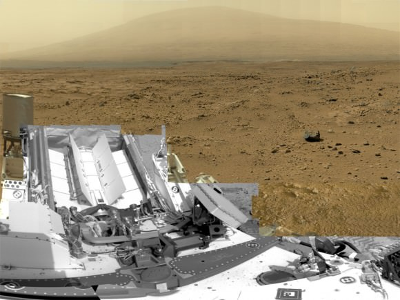 "This is a cropped, reduced version of panorama from NASA's Mars rover Curiosity with 1.3 billion pixels in the full-resolution version see full panorama below. It shows Curiosity at the ""Rocknest"" site where the rover scooped up samples of windblown dust and sand. Curiosity used three cameras to take the component images on several different days between Oct. 5 and Nov. 16, 2012. Viewers can explore this image with pan and zoom controls at http://mars.nasa.gov/bp1/. Credit: NASA/JPL-Caltech/MSSS"