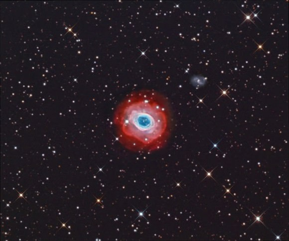 Image of M 57 (Ring Nebula), a collaboration by amateur astronomers Terry Hancock of Michigan and Fred Herrmann of Alabama who both used Astro-Tech 12 inch Ritchey-Chrétien astrographs.