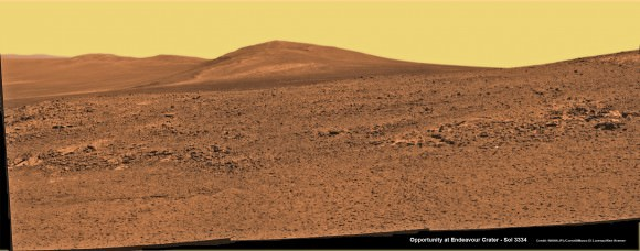 Solander Point mosaic captured by high resolution pancam camera on Sol 3334, June 10, 2013.  Opportunity will scale Solander after arriving in August 2013 in search of chemical ingredients to sustain Martian microbes  Credit: NASA/JPL/Cornell/ASU/Marco Di Lorenzo/Ken Kremer (kenkremer.com)