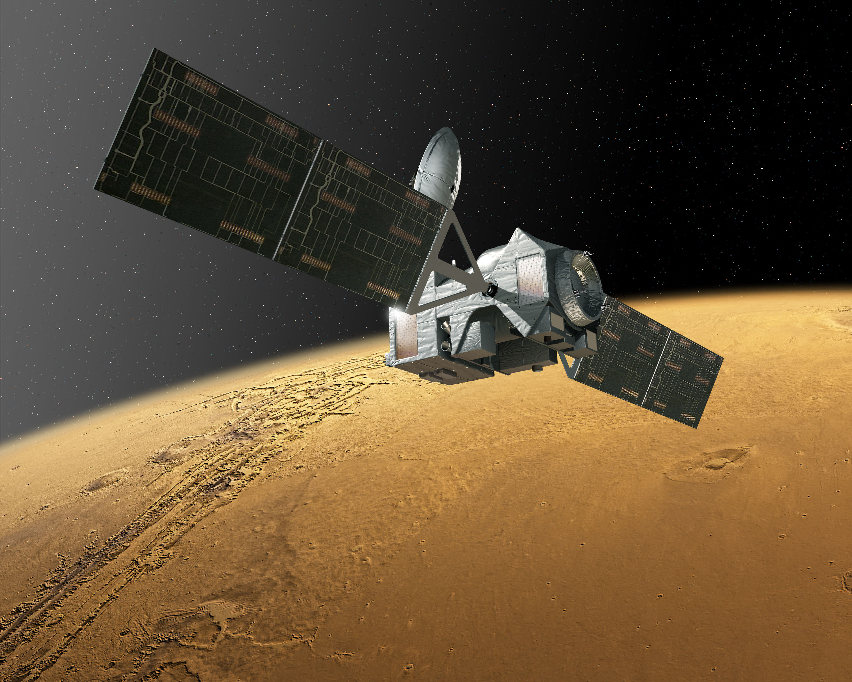 The European/Russian ExoMars Trace Gas Orbiter (TGO) will launch in 2016 and sniff the Martian atmosphere for signs of methane which could originate for either biological or geological mechanisms. Credit: ESA