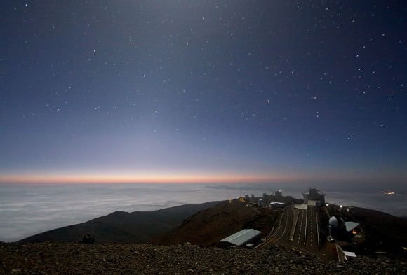 Moonlight and zodiacal light lights up the skies over ESO's La Silla observatory. (Credit: Alan Fitzsimmons/ESO)