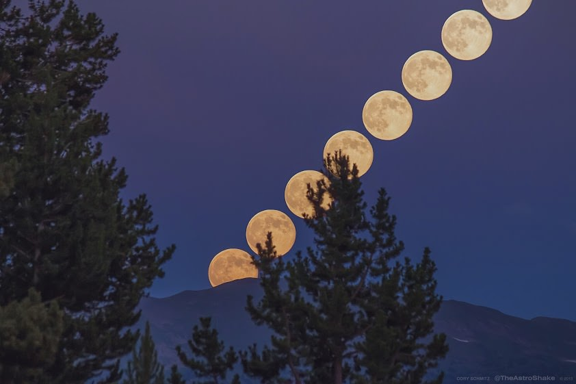 A series of photos combined to show the rise of the July 22, 2013 'super' full moon over the Rocky Mountains, shot near Vail, Colorado, at 10,000ft above sea level in the White River National Forest. Moon images are approximately 200 seconds apart. Credit and copyright: Cory Schmitz