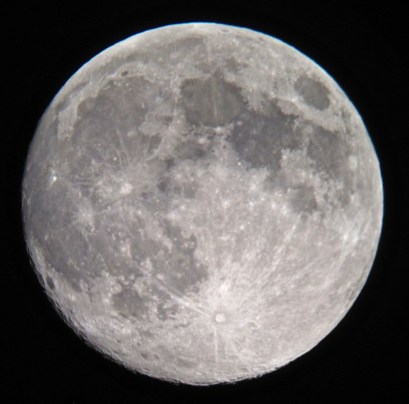 A handheld shot of the Moon on Sunday evening through a 12