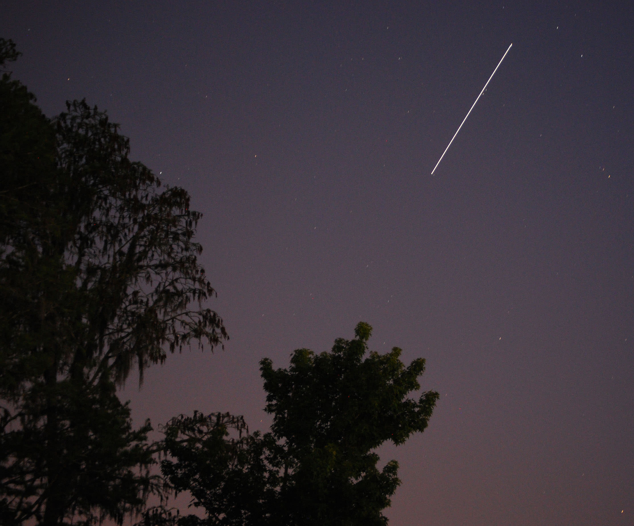 A 10 second exposure of a bright pass of the International Space Station. (Photo by Author).
