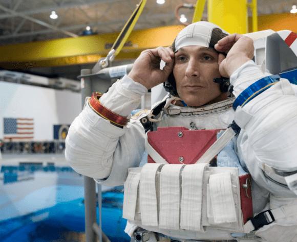 Michael Hopkins, Expedition 37/38 flight engineer, during spacewalk training. Credit: NASA
